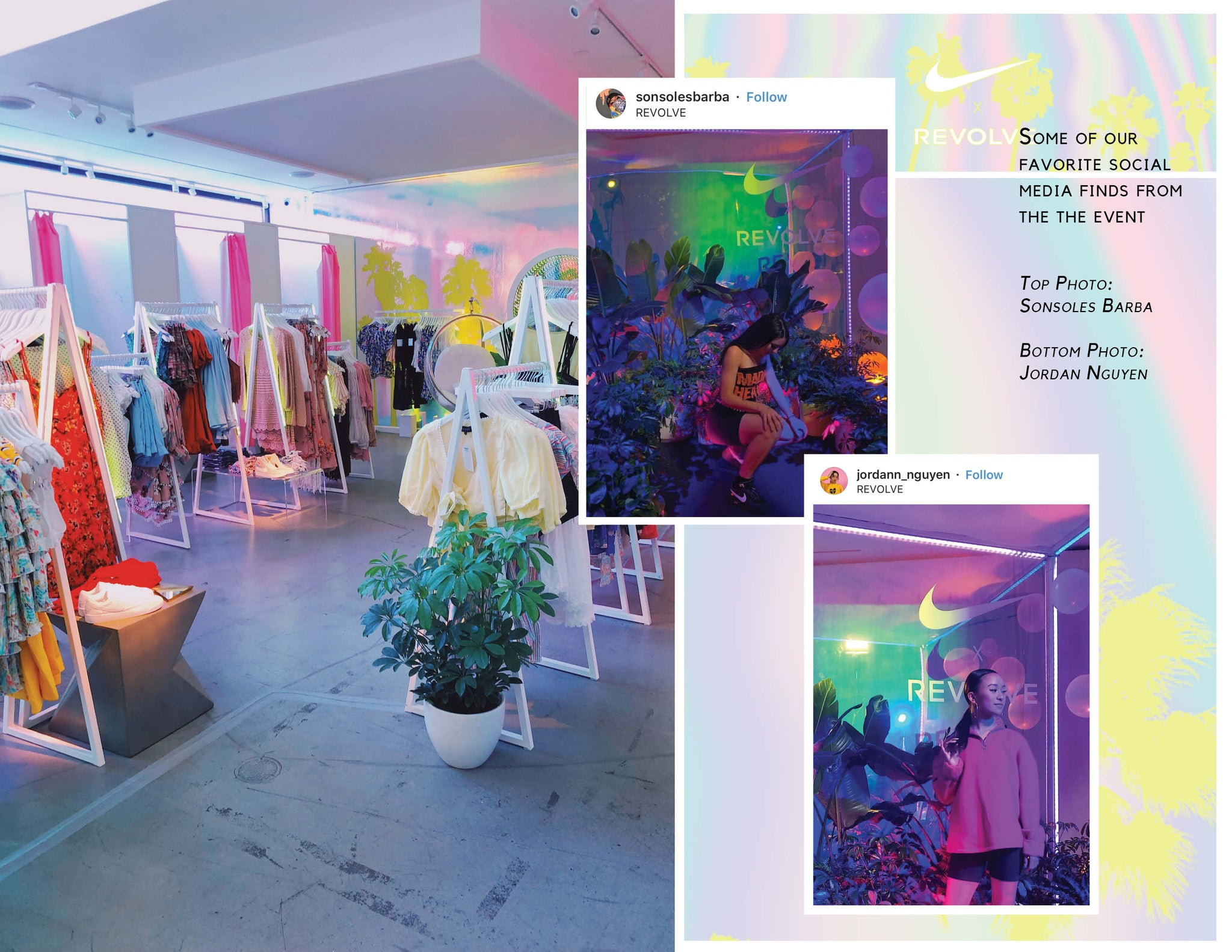 © Wildflora 2019 Nike x Revolve Pop-Up Event Los Angeles florist Ventura Blvd Studio City California Original Farmers Market The Grove delivery floral bloom plant arrangement color palette pastel light pale pink blue green purple neon Lisa Frank yellow chartreuse tree white ceramic custom ceramic planter pot container clothes display palm tree bright fun alive cute hipster active-wear leisure-wear temporary jacket display shop sports bras Jordan Nguyen Sonsoles Barba social media umbrella