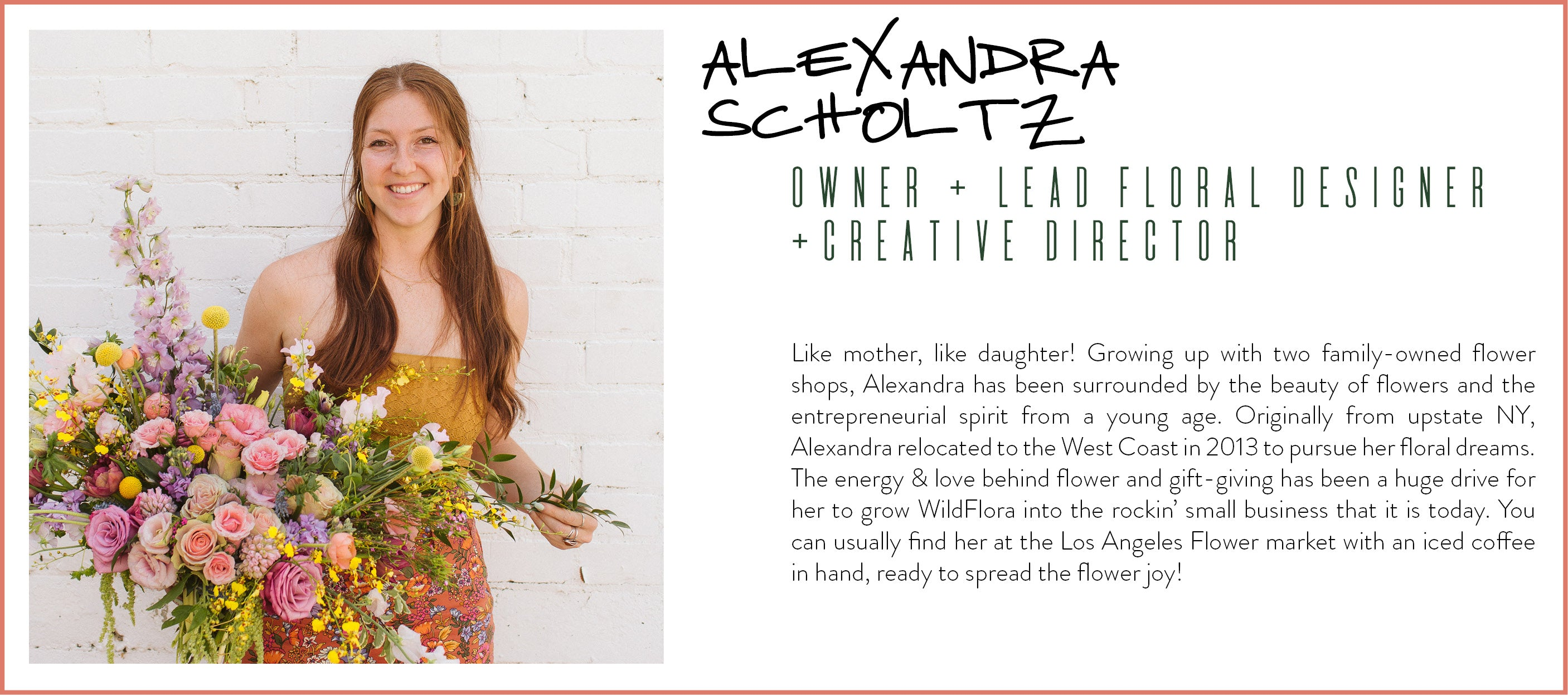 alexandra scholtz owner wildflora florist lead floral designer creative director woman-owned business small