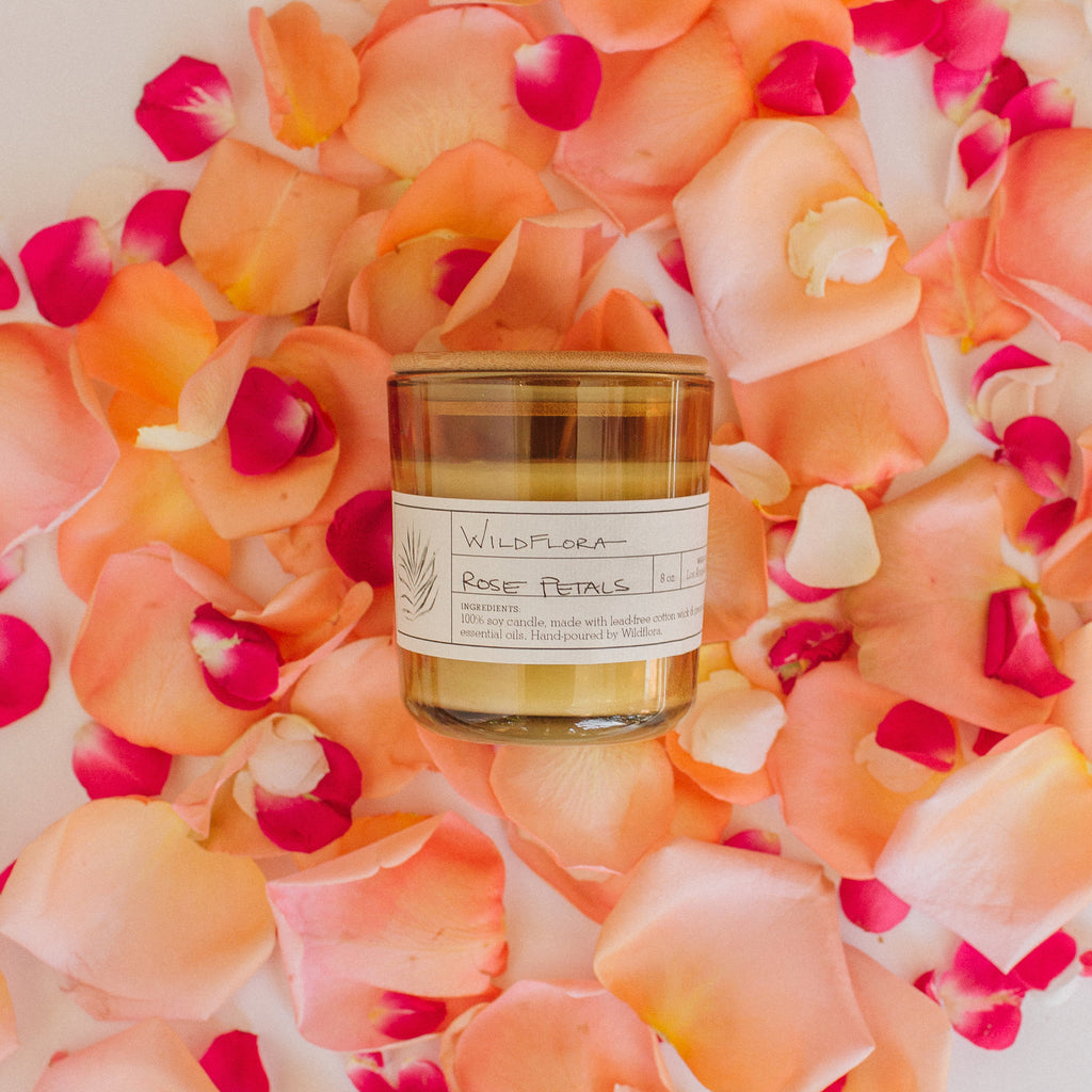 Candle: WildFlora Ltd. Edition Single Wick Candle - Rose Petals