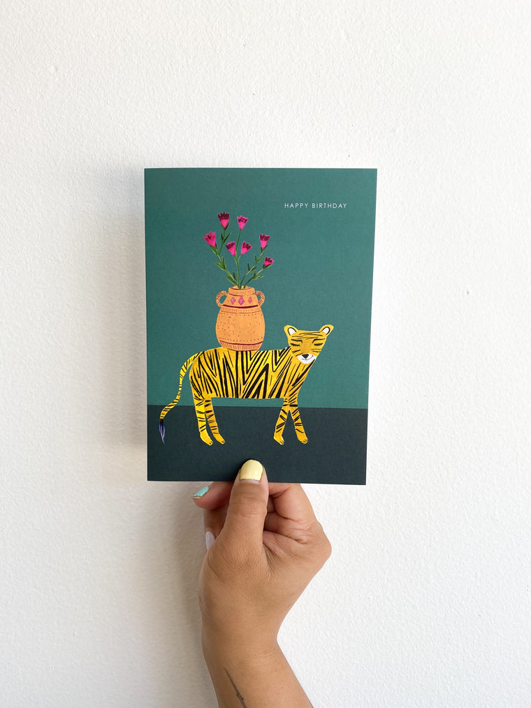 Greeting Card: Teal Tiger