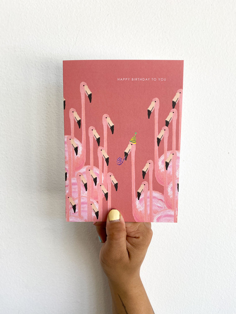 Greeting Card: Pink Flamingos