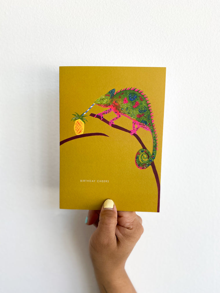 Greeting Card: Olive Chameleon