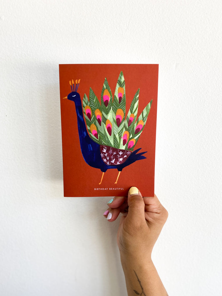 Greeting Card: Red Peacock