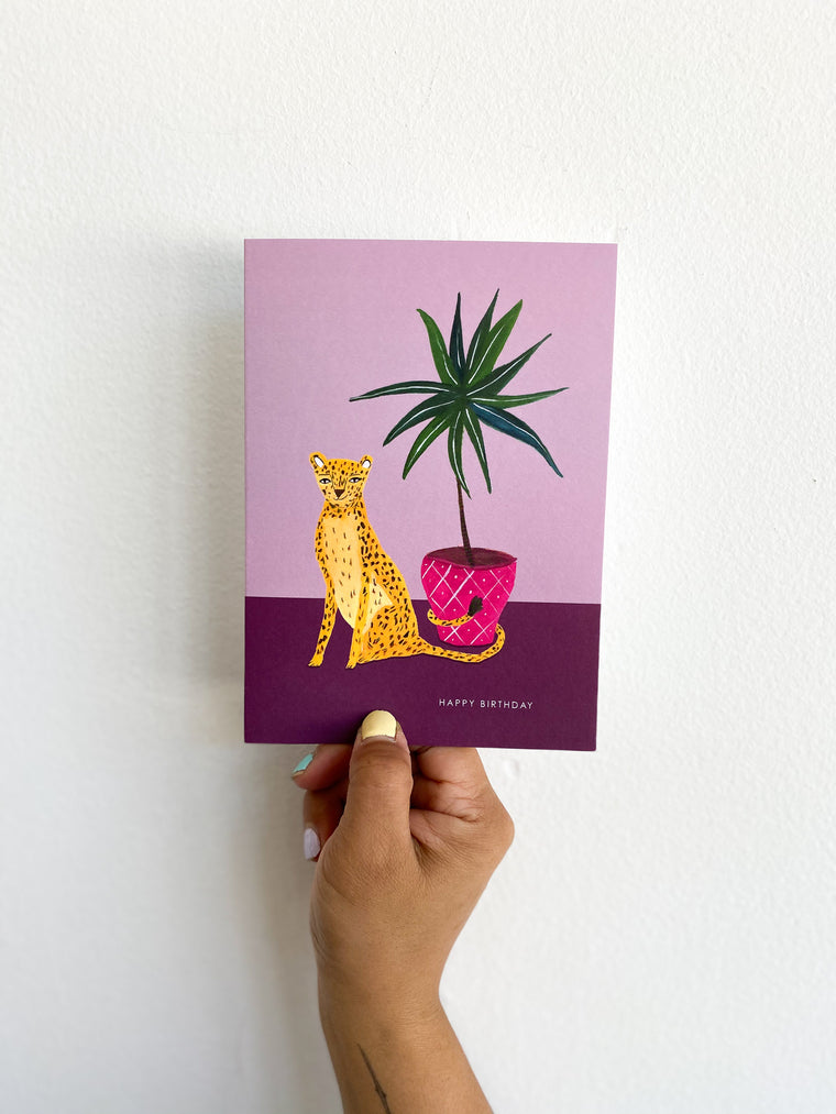 Greeting Card: Purple Cheetah