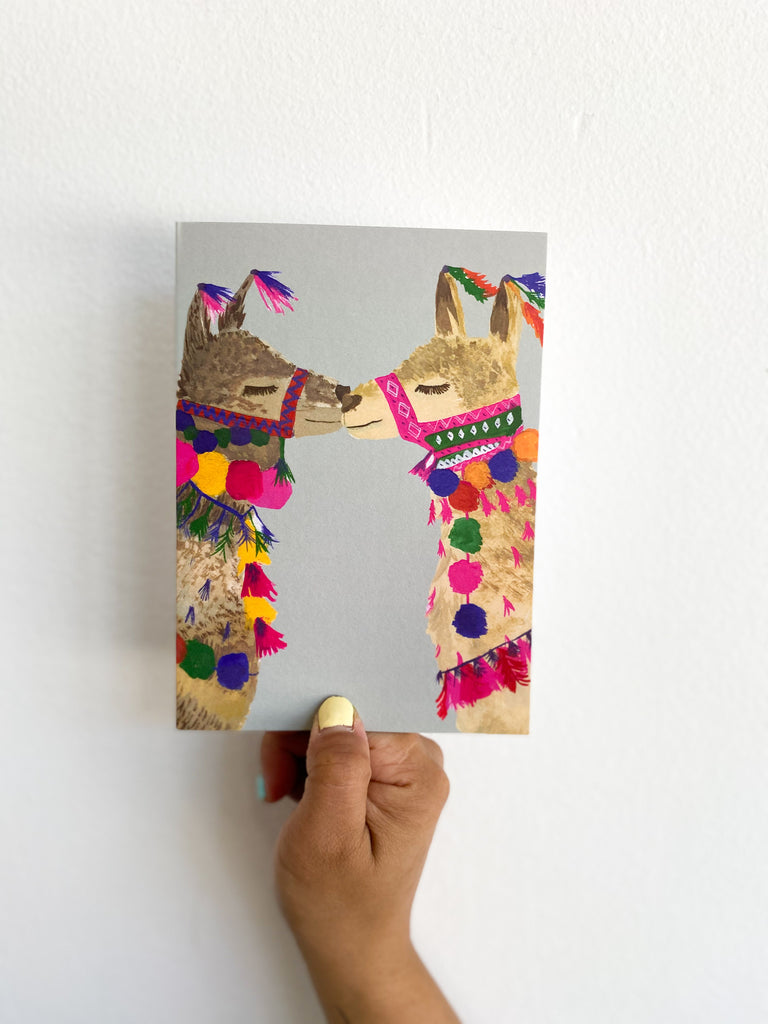 Greeting Card: Gray Llamas