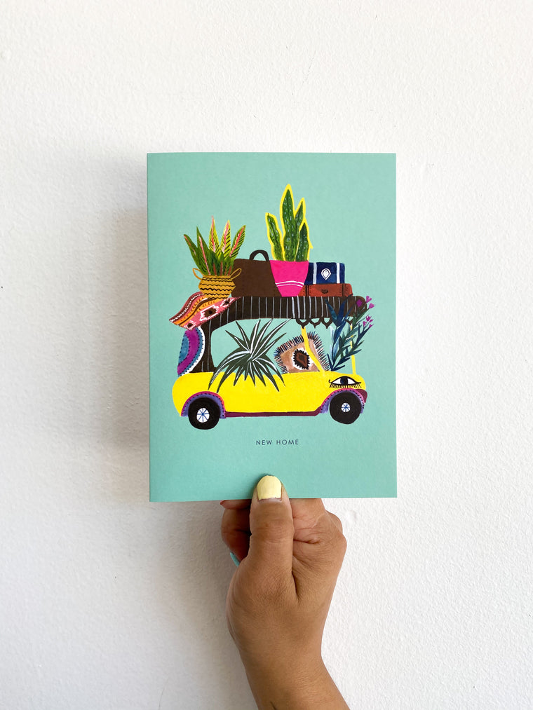 Greeting Card: Teal Plant Car