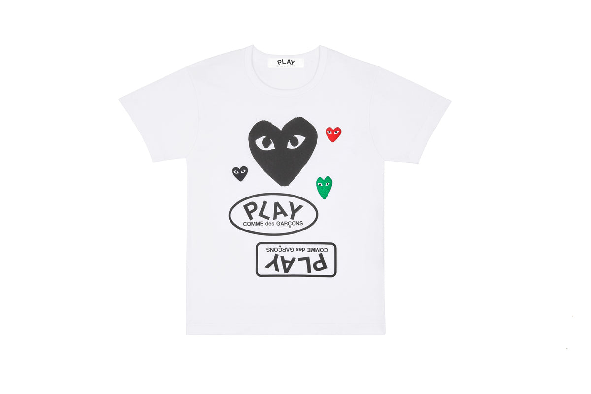 CDG PLAY Multiple Heart Printed Logo T-Shirt with Black Heart