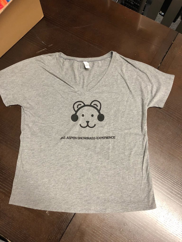 Women's Grey V-Neck Bear Tee