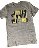 Men's Grey Musical Instrument Squares T-Shirt
