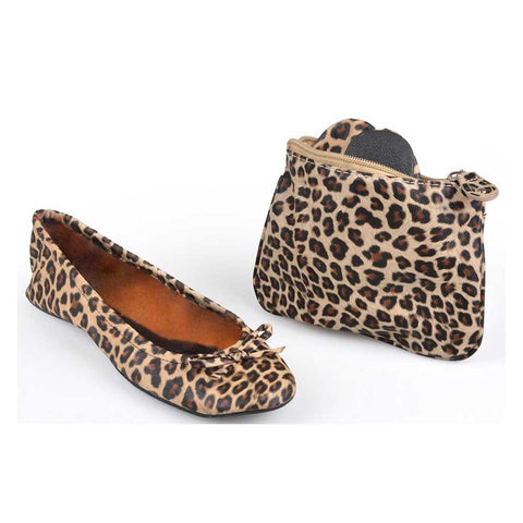 Sidekicks Leopard print foldable shoes with case