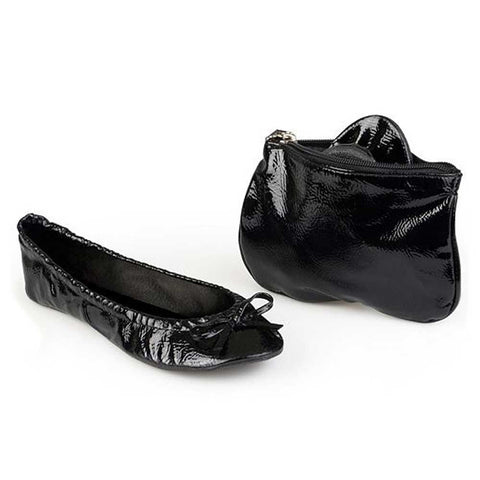 Sidekicks patent black shoes with matching case for storage