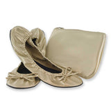 Sidekicks gold original faux leather shoes with pouch