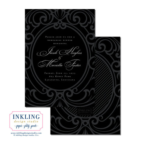 Regal Frame Rehearsal Dinner or Engagement Party Invitation