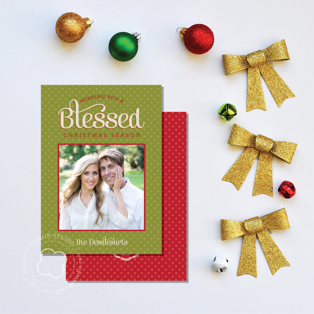 Christmas Card w/ photo: Wishing you a Blessed Christmas