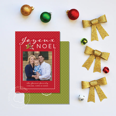Christmas Card w/ photo: Joyeux Noel