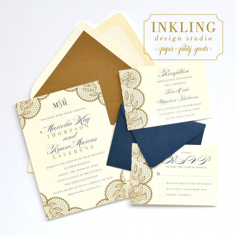 Lace Wedding Invitation Suite