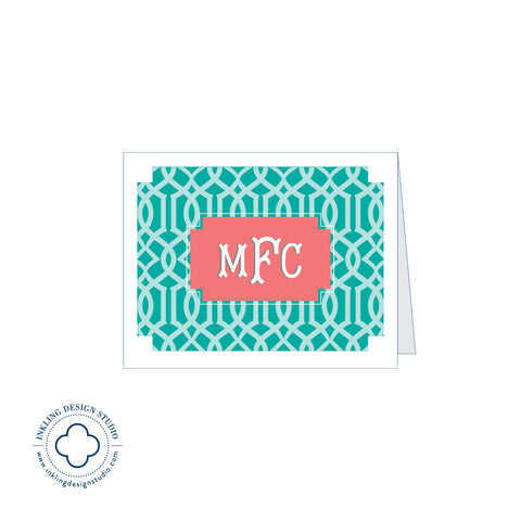 Monogrammed Note Card w Lattice Background