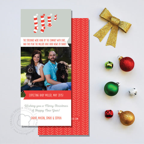 Christmas Card w/ Photo: Stockings Expectancy Announcement