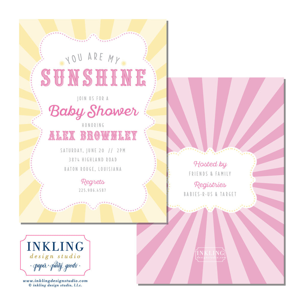 You Are My Sunshine Baby Shower or Birthday Invitation Inkling