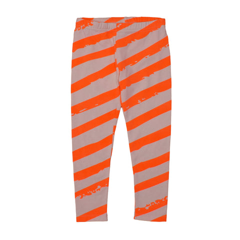 Kids Leggings Neon Orange XL Stripes