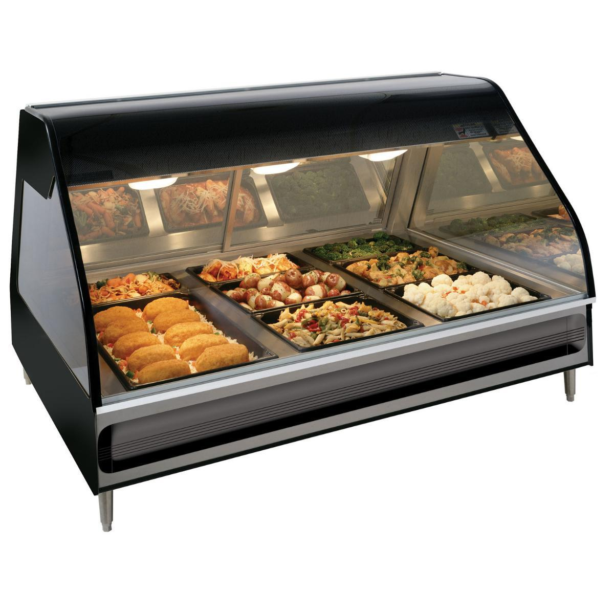 Alto-Shaam ED2-48/2S Black Two-Tiered Heated Display Case with Curved Glass - Self Service 48