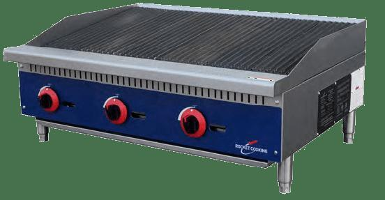Rocket Cooking RCRB36 36 inch Gas Countertop Radiant Charbroiler - 105,000 BTU