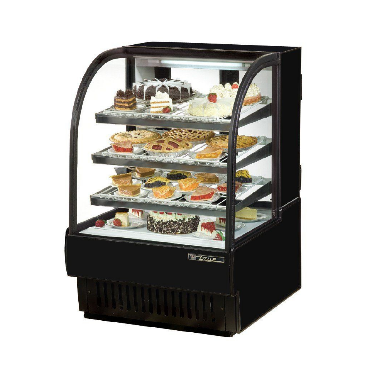 True TCGR-31 Refrigerated Curved Glass Bakery Case