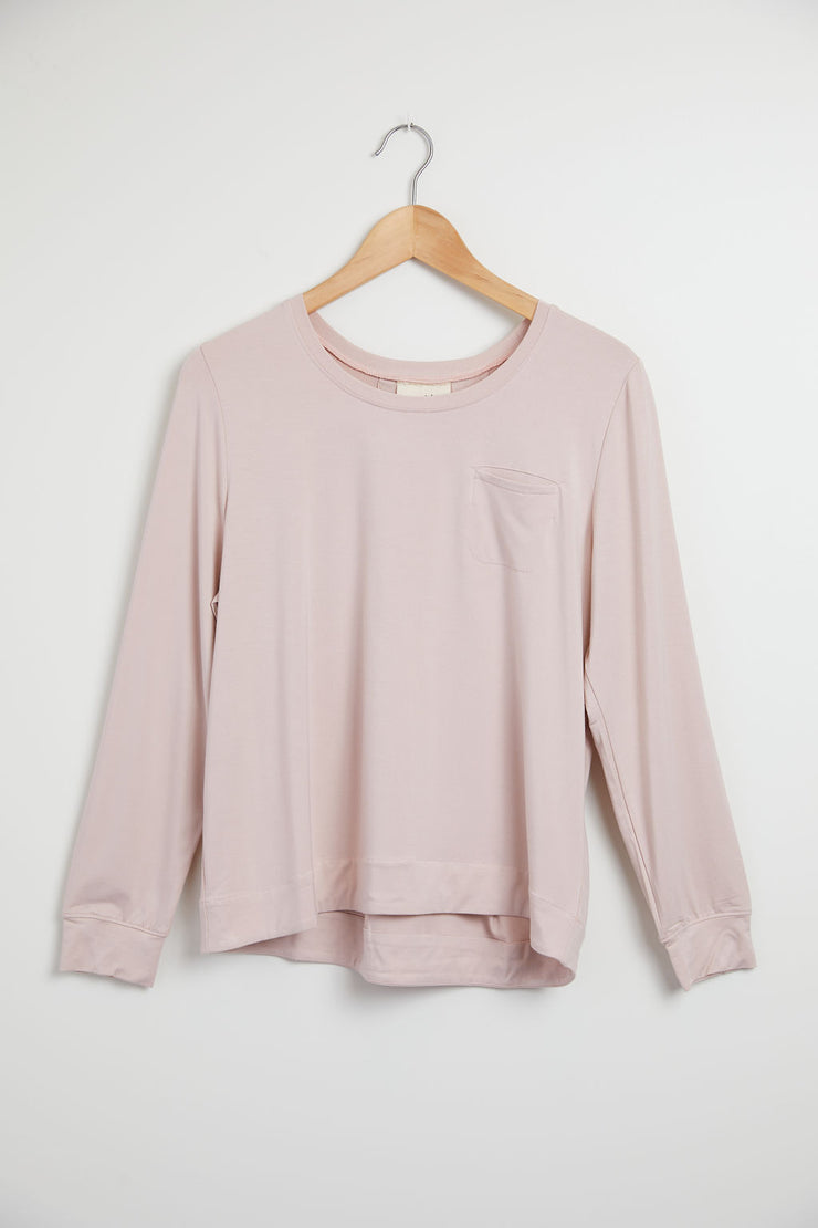 Bamboo Pleated Back Long Sleeve