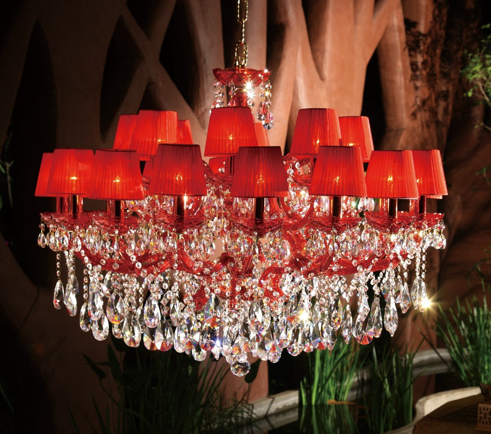 Chic chandeliers blog pendant light and chandelier blog two tier asfour crystal chandelier with red linen shades arubaitofo Image collections