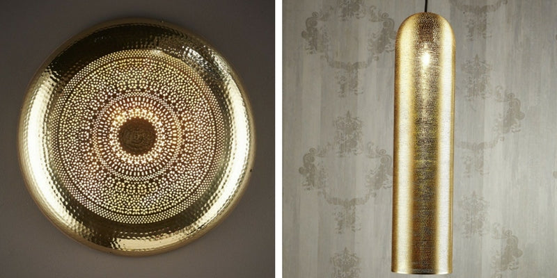 Moroccan Pipe Brass Pendant Light and Moroccan Wall Light