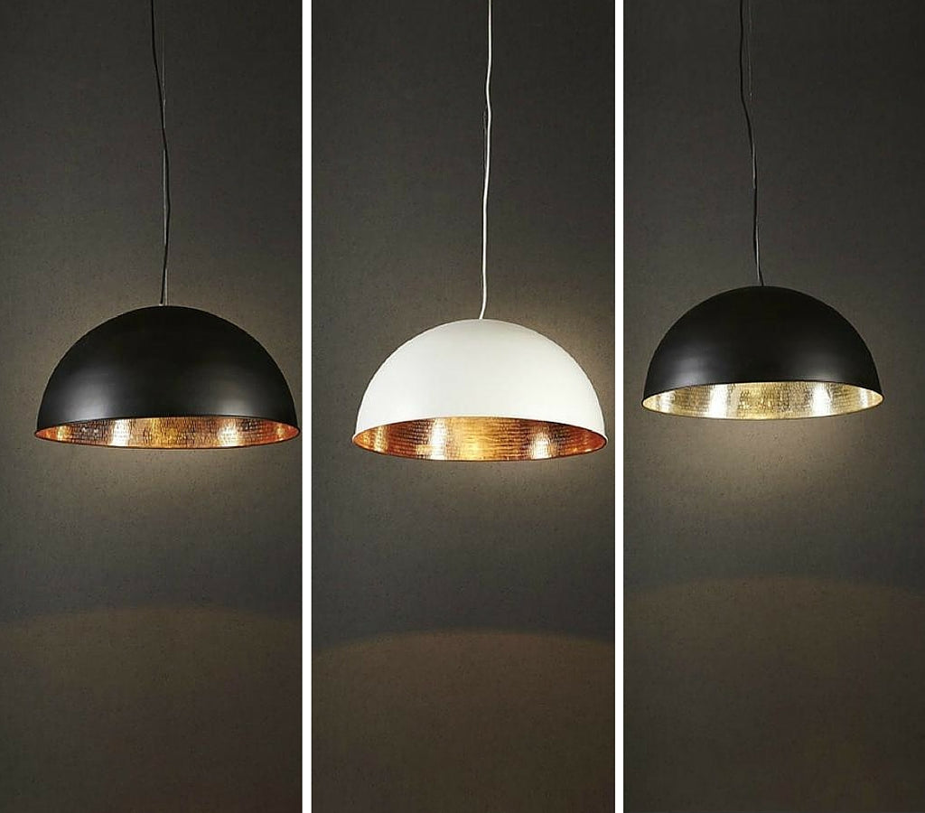 Alfresco Pendant Light range white and black exterior with metallic interior