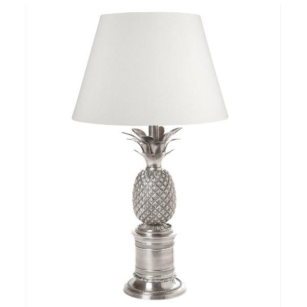 Bermuda Pineapple Table Lamp With An Antique Silver Finish And Ivory Shade.