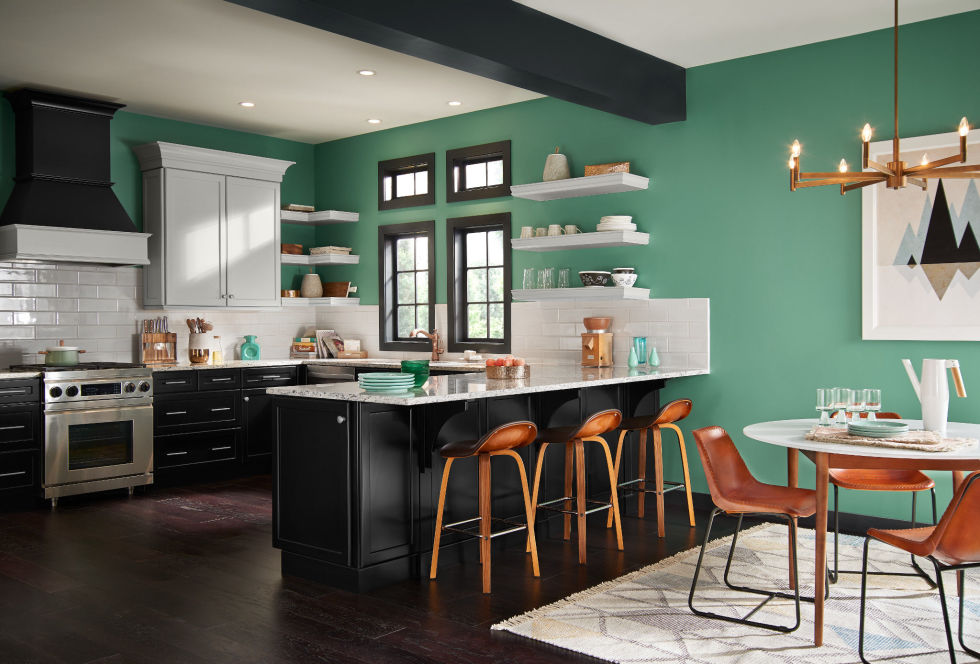 kitchen with green feature wall