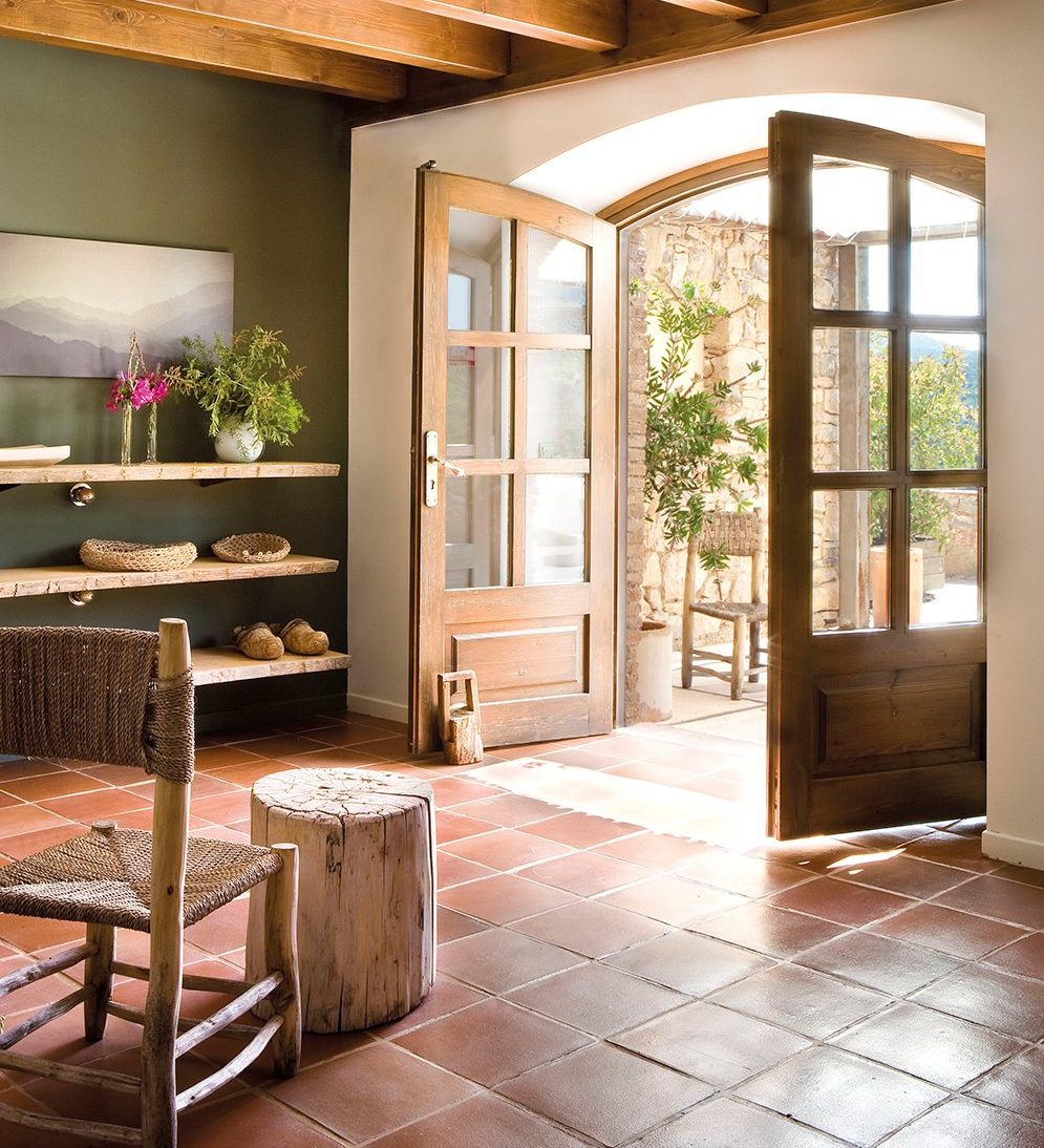 terracotta tiles feature in this interior