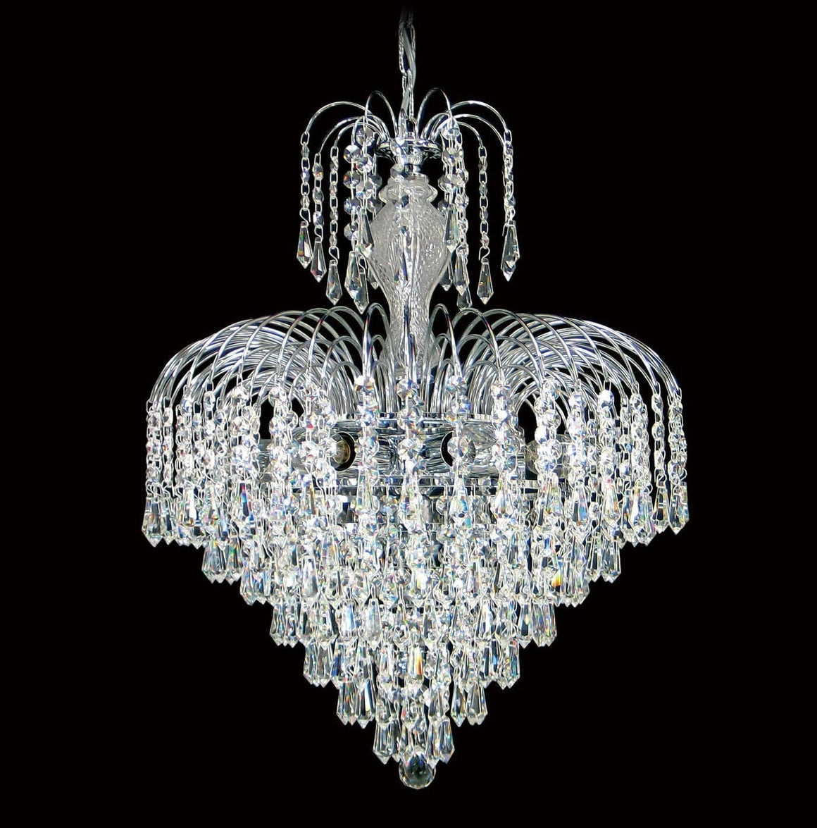 "7 light - 17"" Asfour Lead Crystal Chrome Waterfall Chandelier"