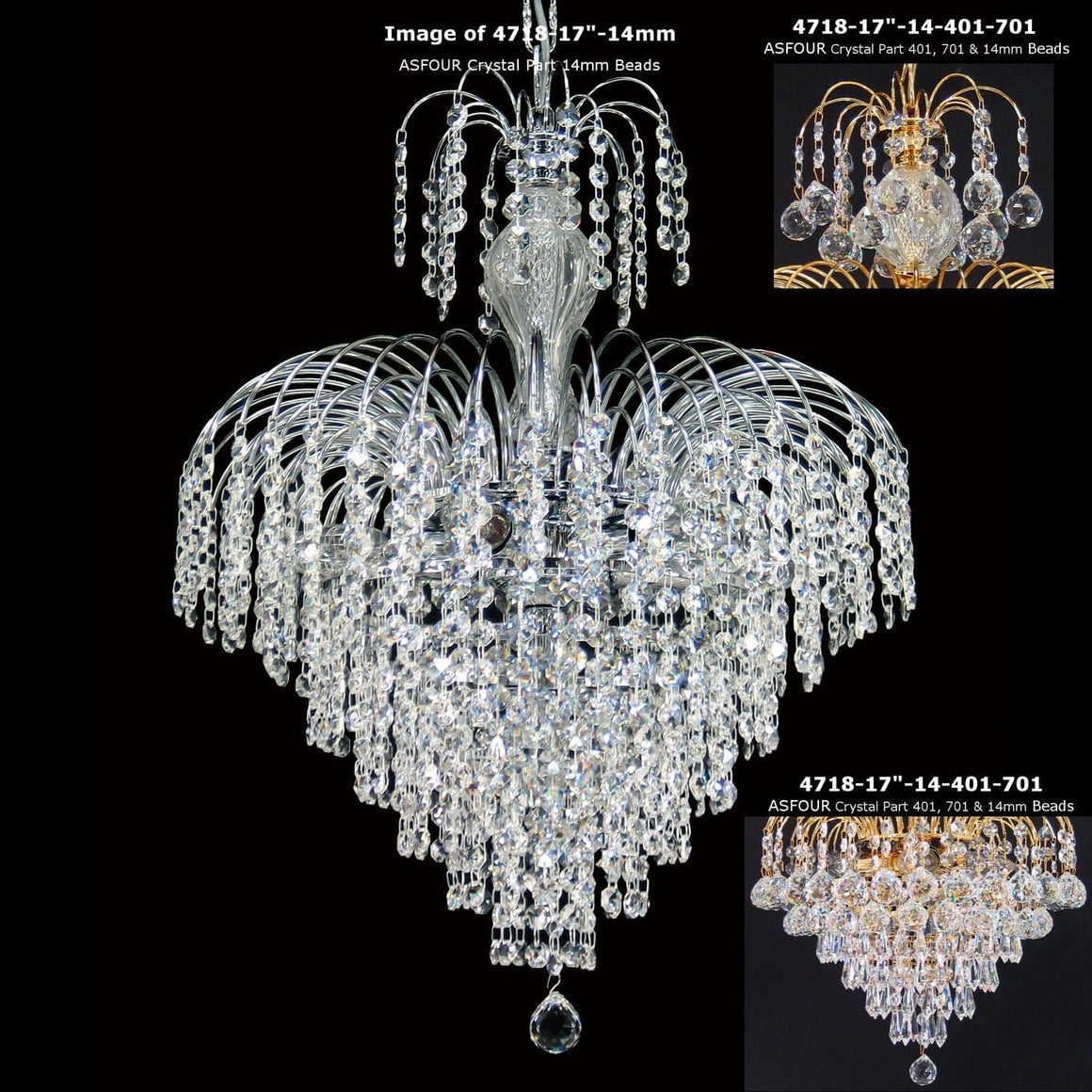 "7 light - 17"" Asfour Lead Crystal 24ct Gold Plated Waterfall Chandelier W/Prisma And Balls"