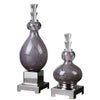 Charoite Purple Glass Bottles S/2