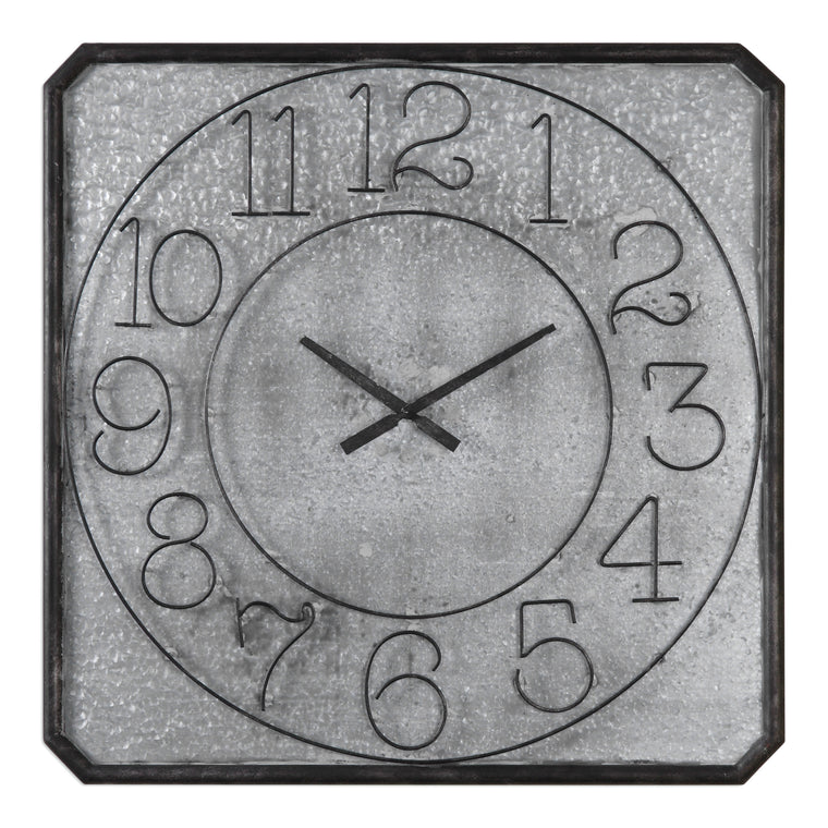Dominic Galvanized Metal Wall Clock