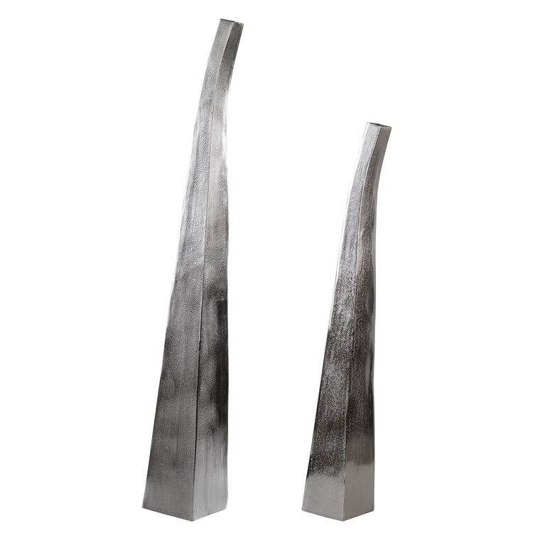 Aavya Matte Nickel Vases Set/2