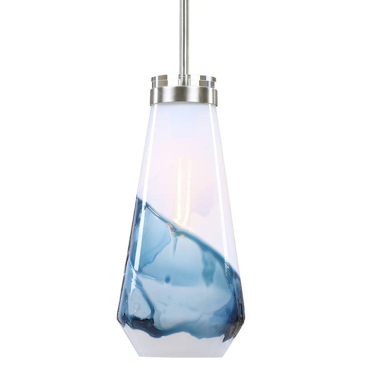 Windswept Blue & White 1 Light Mini Pendant
