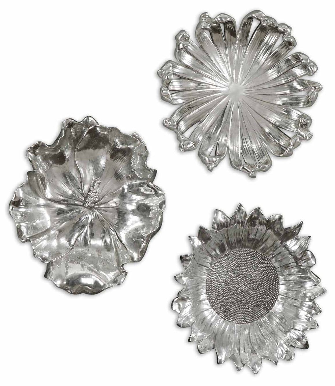 Silver Flowers Wall Art, Set/3