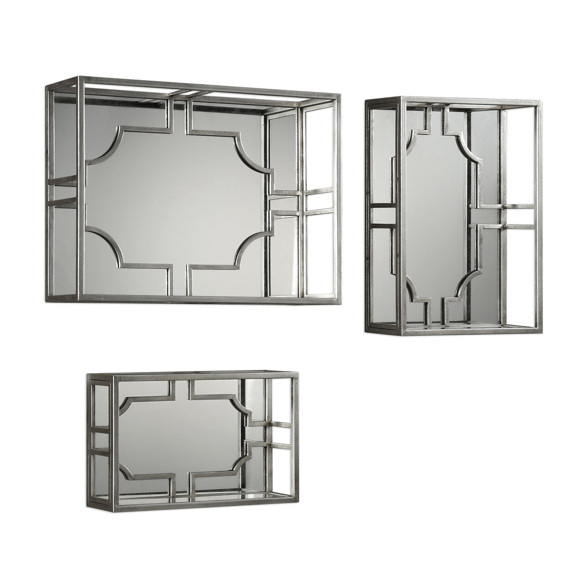 Adoria Silver Wall Shelves S/3