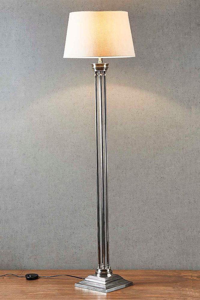 Hudson Floor Lamp Base Antique Silver