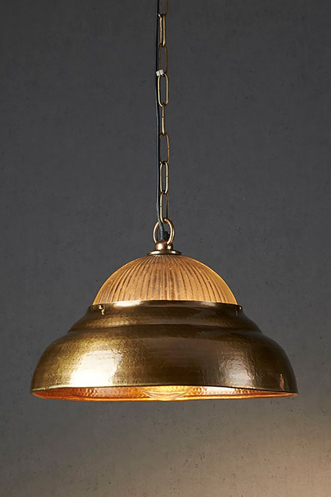 Atrium Hanging Lamp Antique Brass