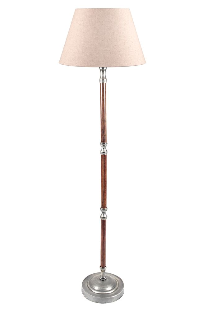 Brunswick Floor Lamp Base Silvr/Timber