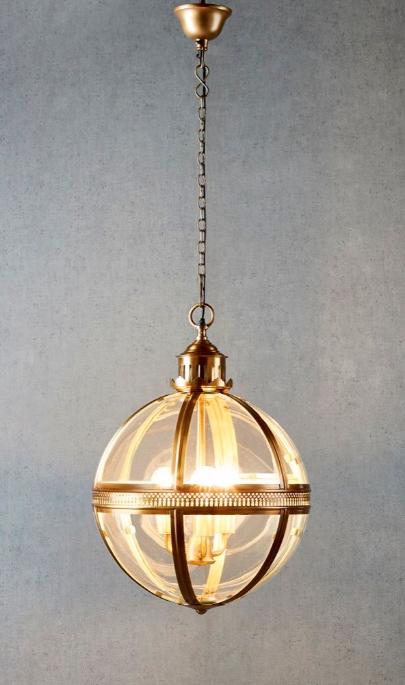 Saxon Pendant Lamp Med Antique Brass