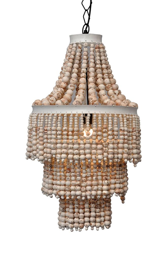 Bangalow beaded white chandelier