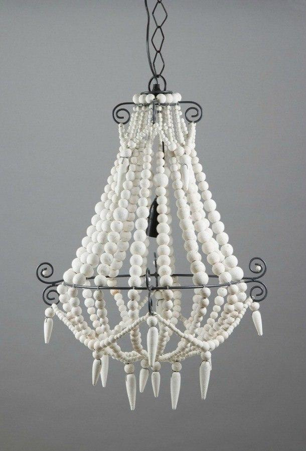 Modern Beaded Chandelier Small White