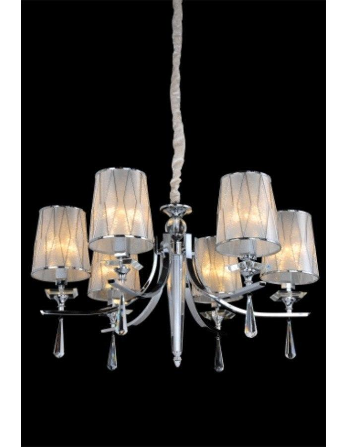 Modern - Bocelli Six Light Chrome And Glass Chandelier