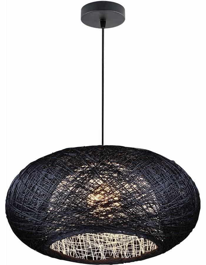 Pendant - Bordo Black Wicker Pendant Light